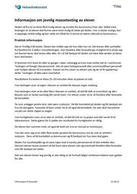 Norsk - Informasjon om jevnlig massetesting - til foresatte
