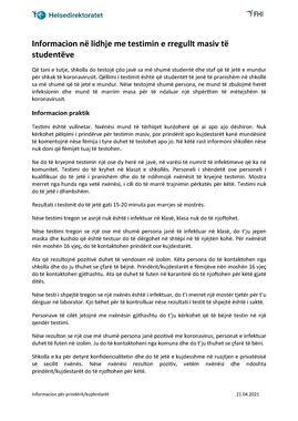 Albansk - Informasjon om jevnlig massetesting - til foresatte