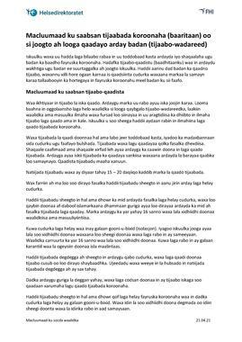 Somali - Informasjon om jevnlig massetesting - til foresatte