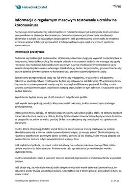 Polsk - Informasjon om jevnlig massetesting - til foresatte